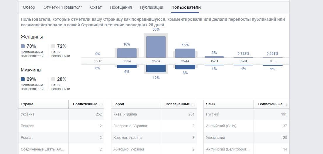 Результат продвижение в сети Facebook