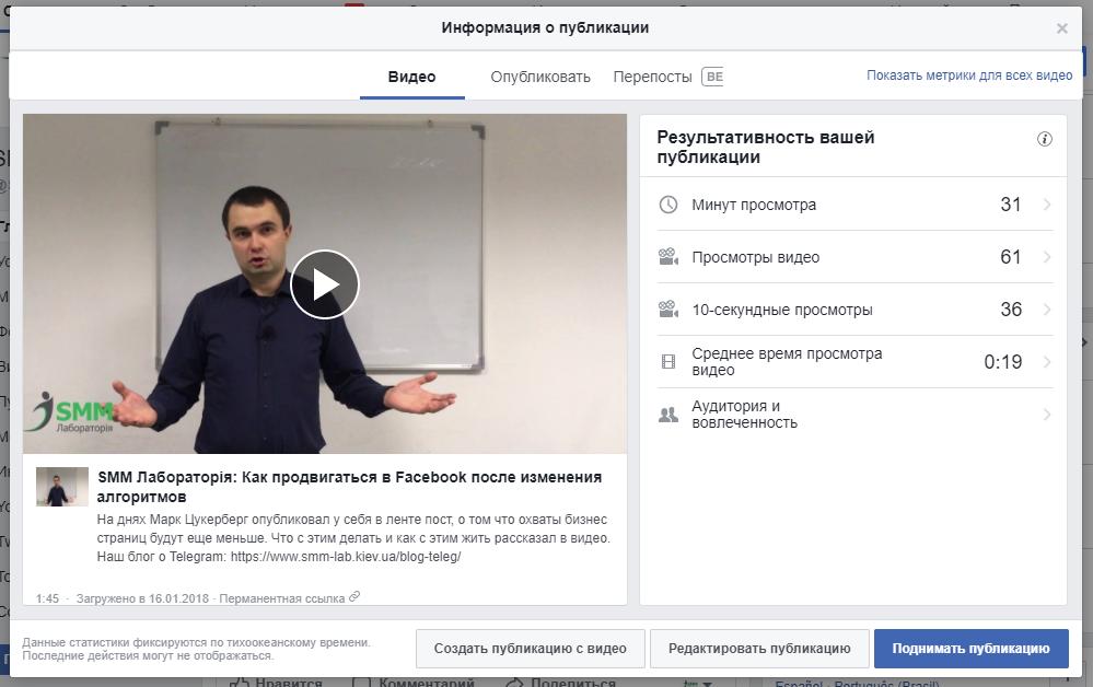 Статистика видео в новом редакторе Facebook